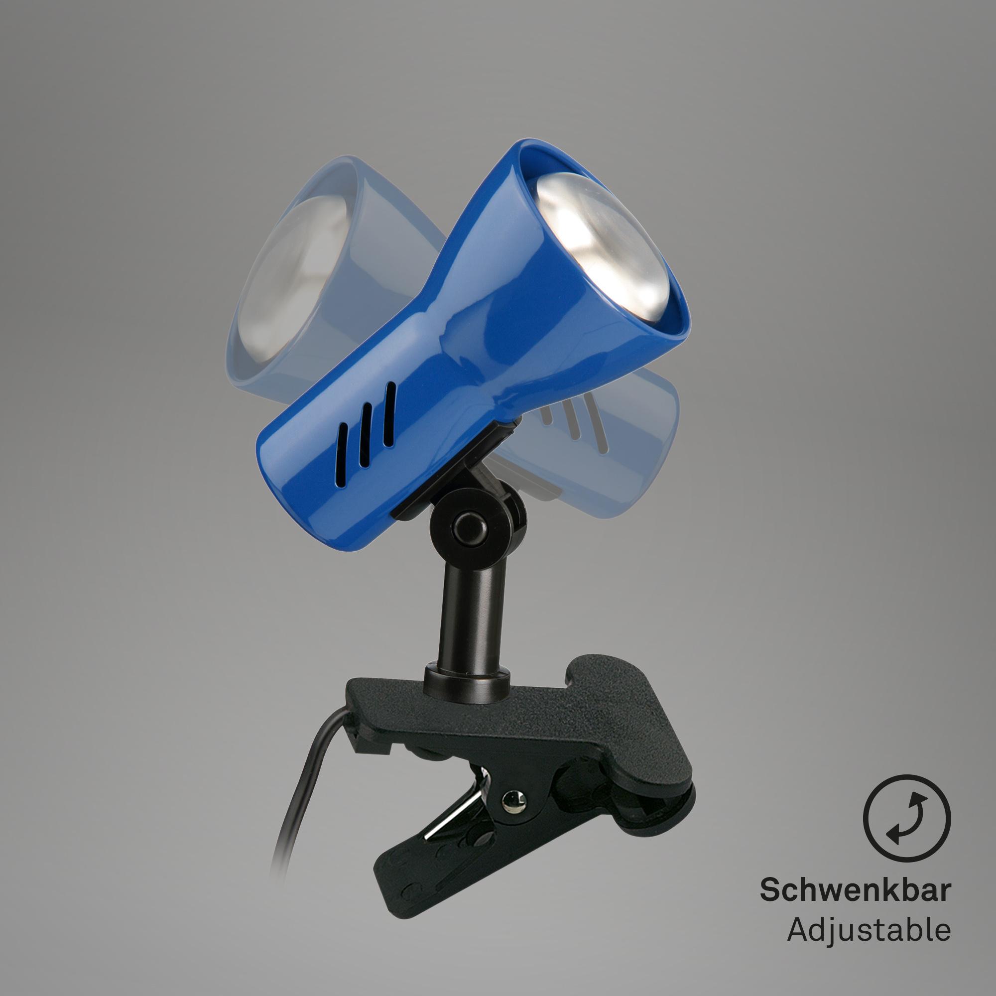 Klemmleuchte, 6,5 cm, max. 40 W, Blau