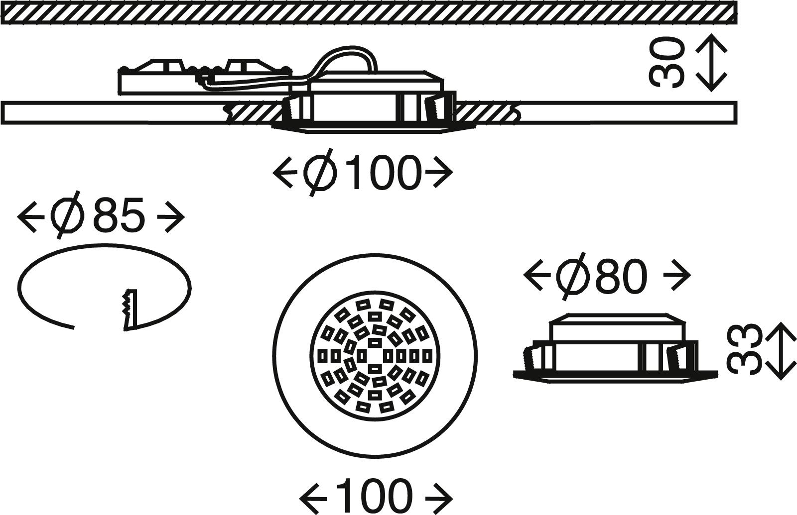 LED Einbauleuchte, Ø 10 cm, 11 W, Matt-Nickel