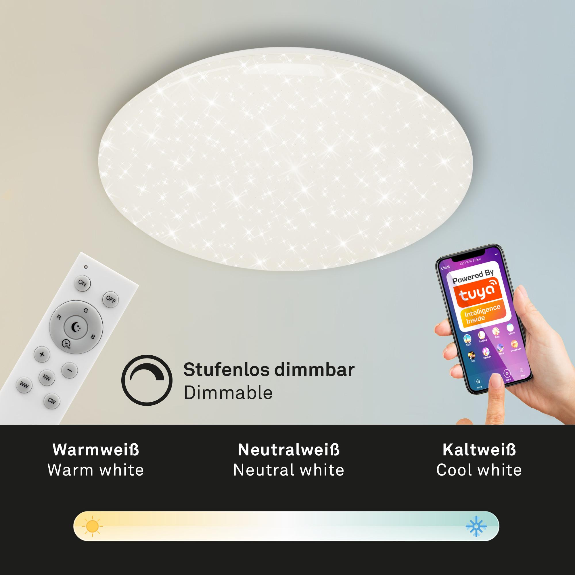 SMART LED Deckenleuchte, 50 cm, 42 W, Weiss