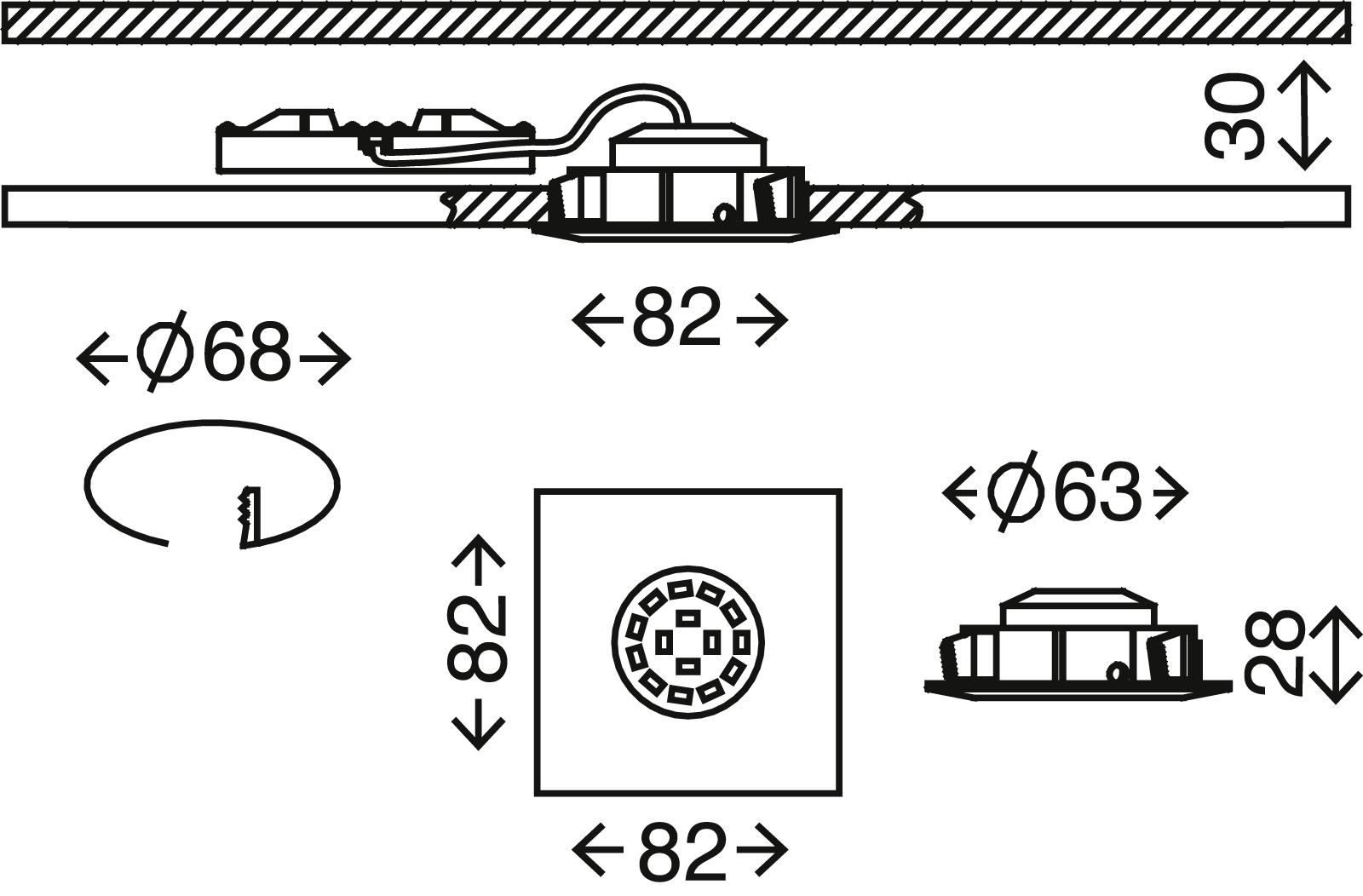 3er Set LED Einbauleuchte, 8,2 cm, 5 W, Weiss