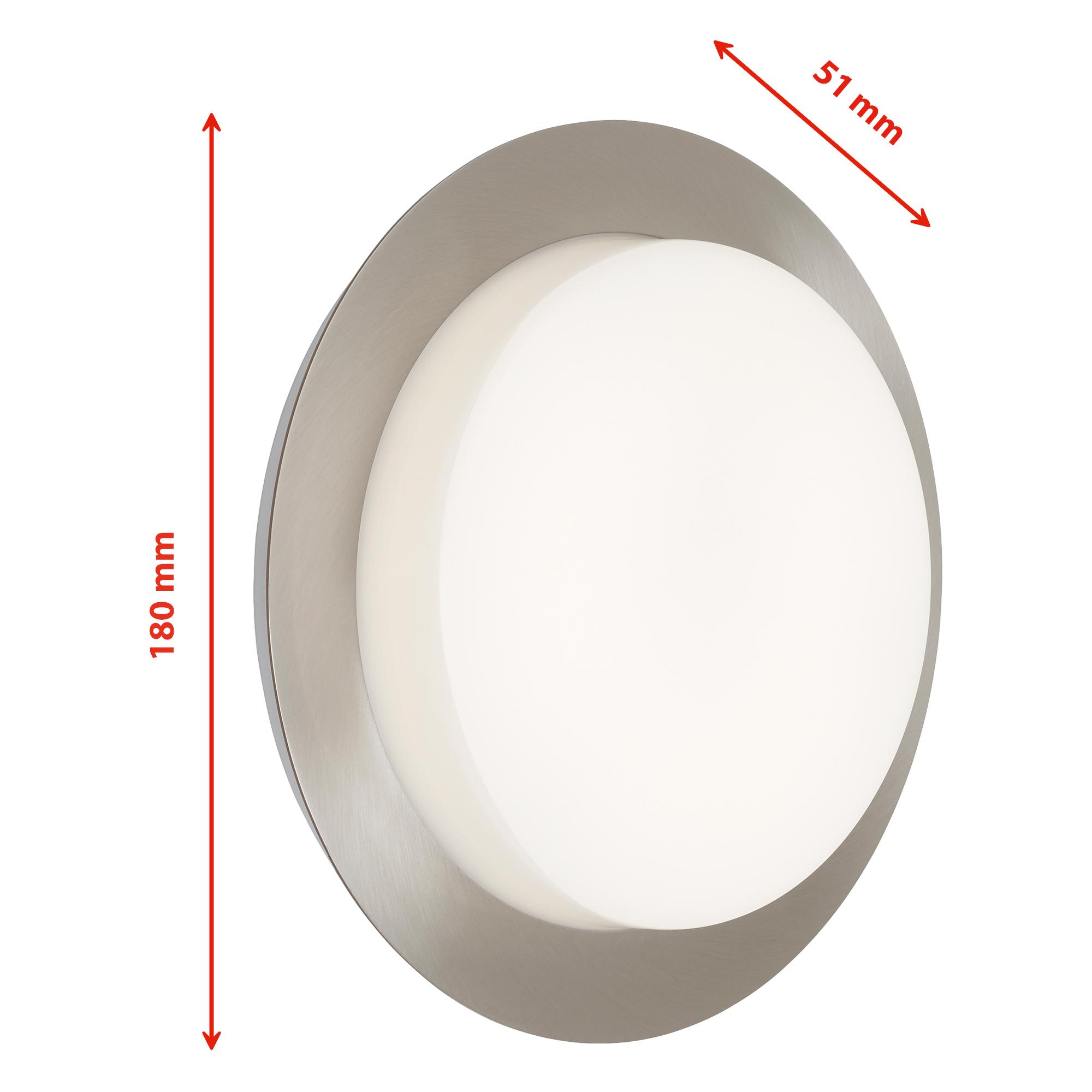 LED Aussenleuchte, Ø 18 cm, 9 W, Edelstahl