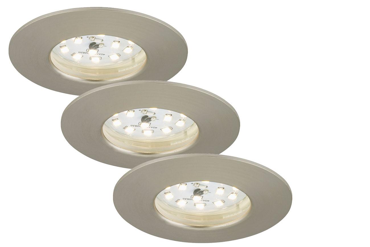 3er Set LED Einbauleuchte, Ø 7,5 cm, 7 W, Matt-Nickel