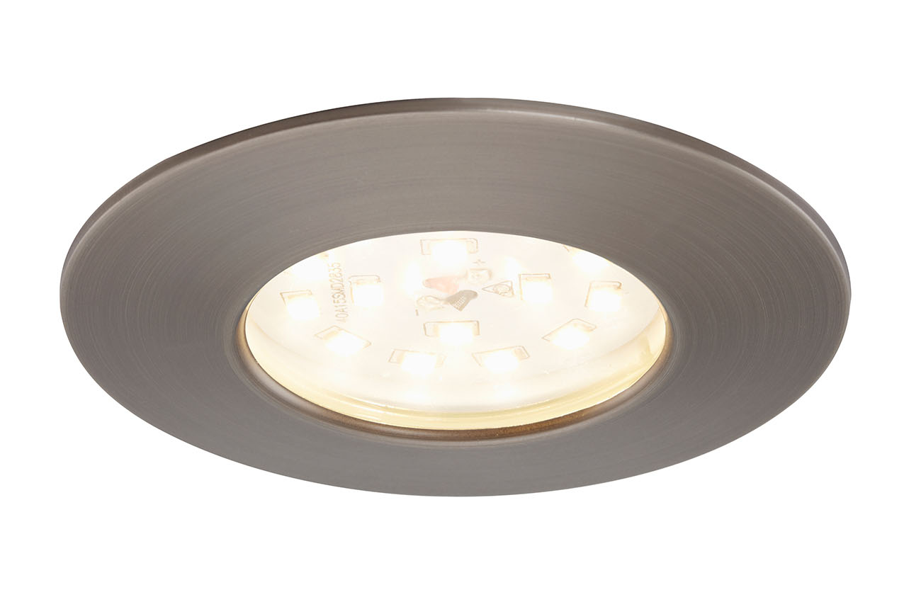 3er Set LED Einbauleuchte, Ø 7,5 cm, 5,5 W, Silber