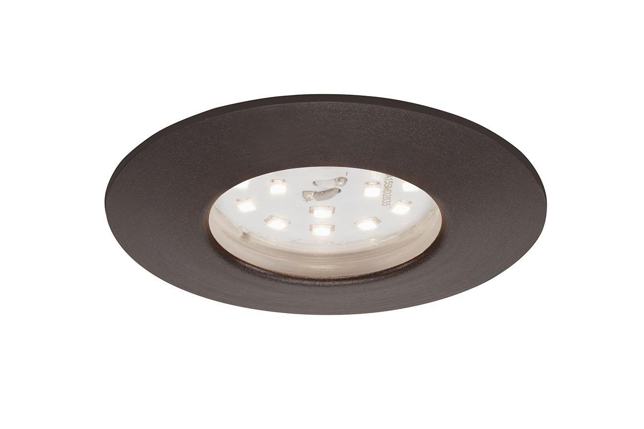 3er Set LED Einbauleuchte, Ø 7,5 cm, 6,5 W, Silber