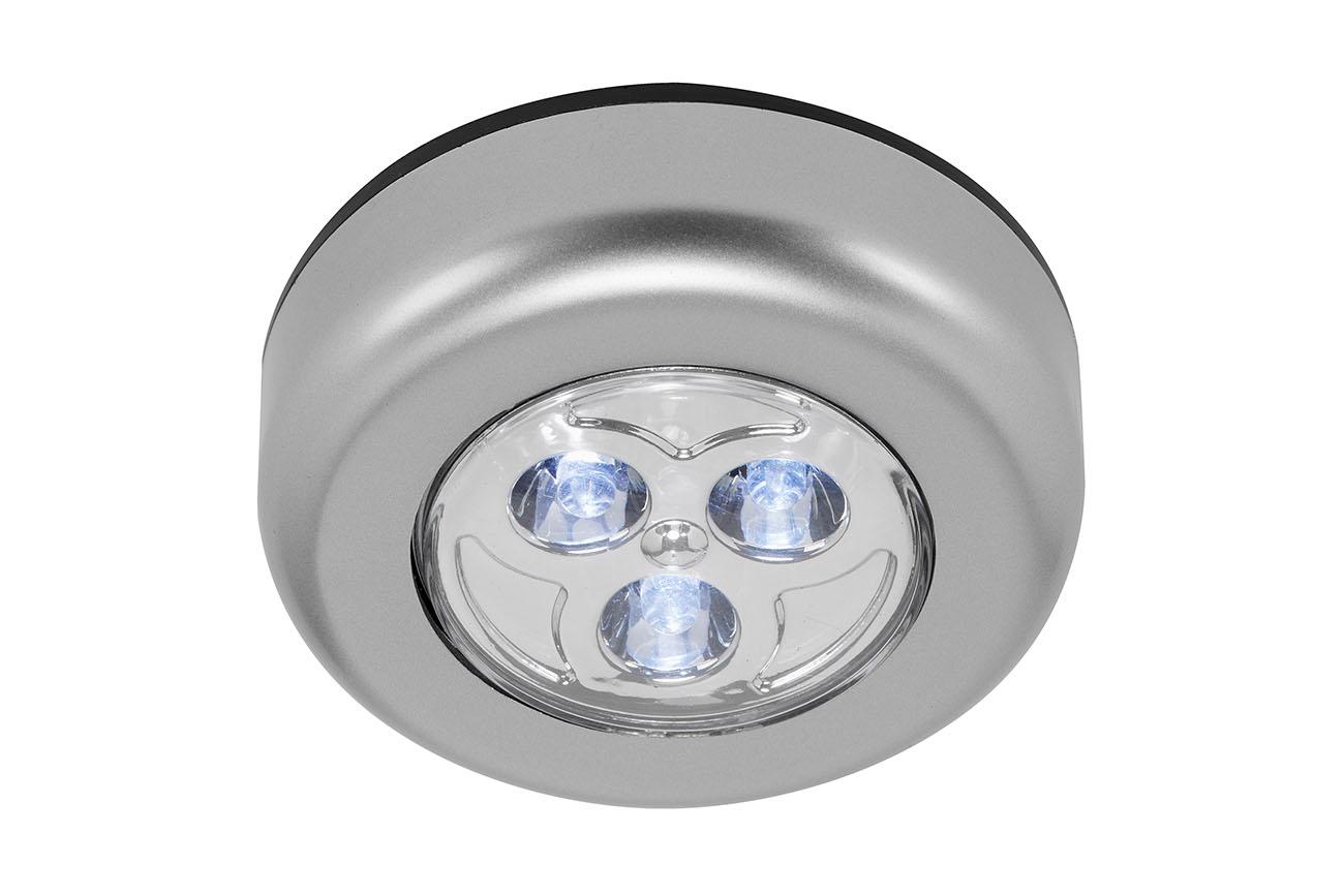 3er Set LED Push-Light, Ø 6,8 cm, 0,3 W, Titan
