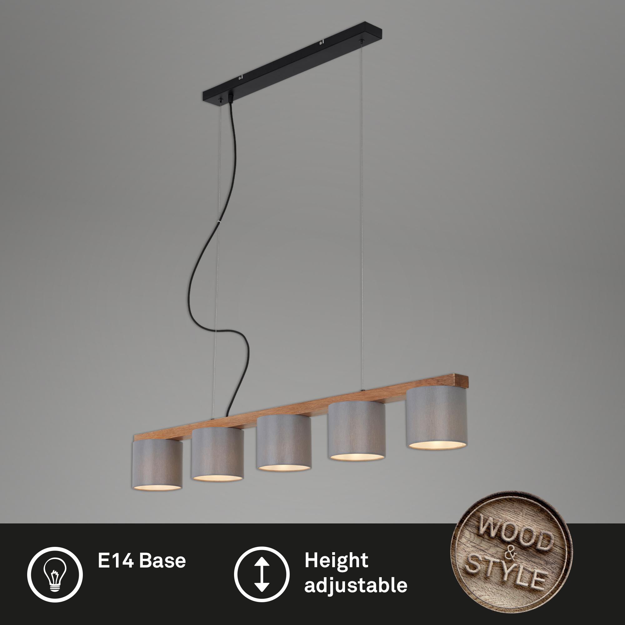 LED Pendelleuchte, 110 cm, max. 25 W, Grau