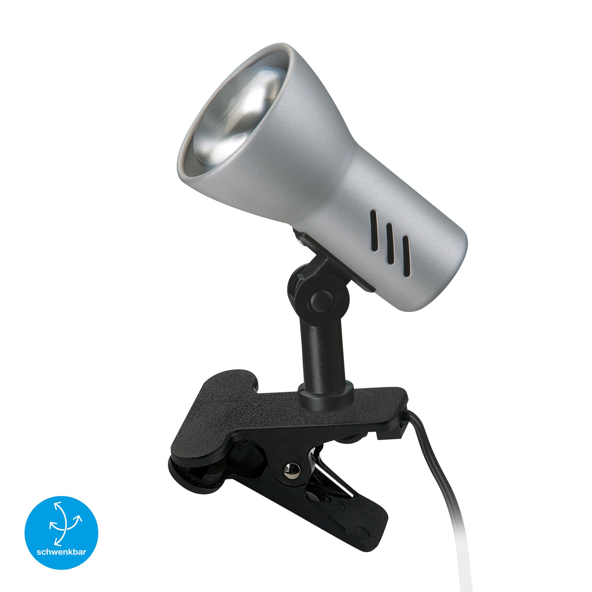LED Klemmleuchte, 11,5 cm, max. 40 W, Titan