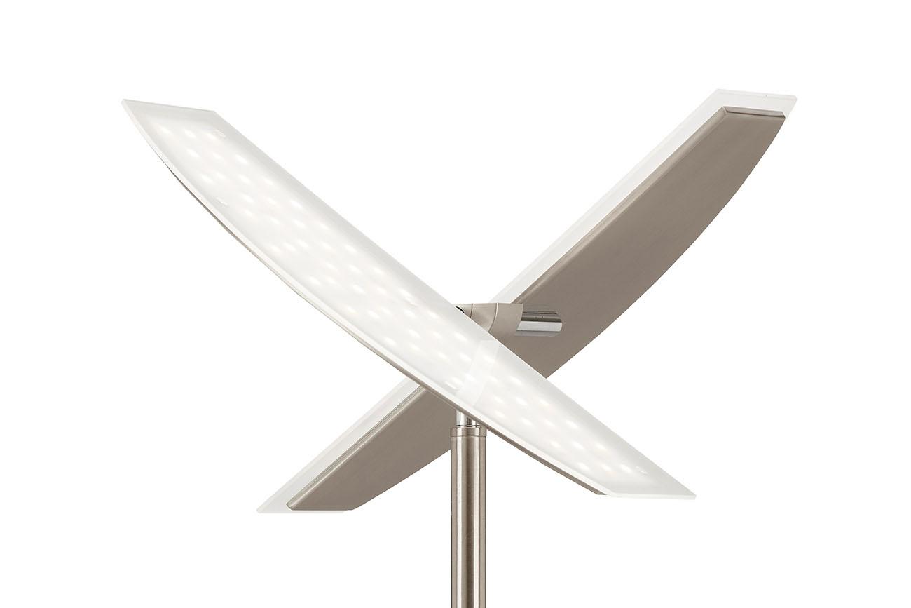 LED Fluter mit Lesearm, 180 cm, 27 W, Matt-Nickel