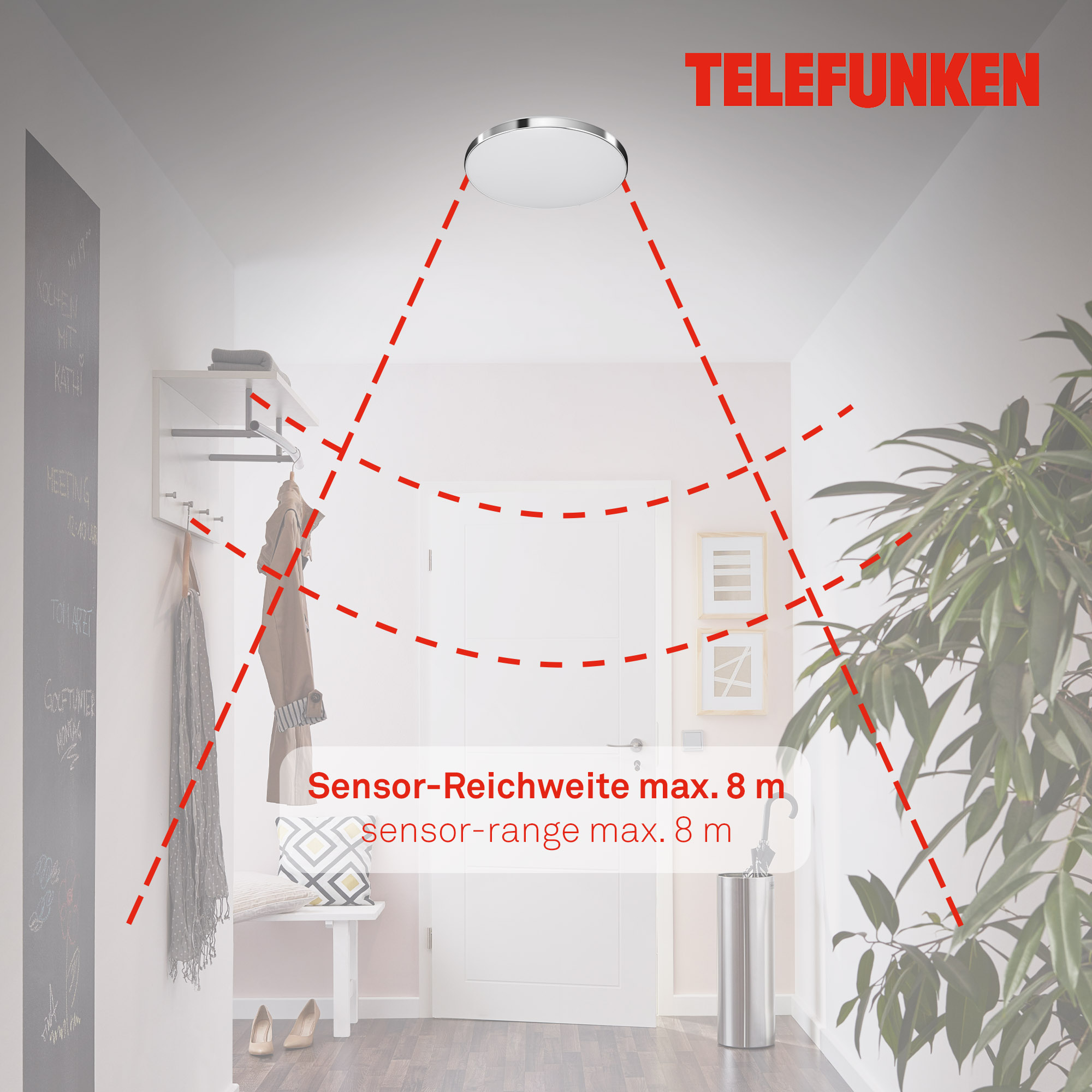 TELEFUNKEN Sensor LED Deckenleuchte, Ø 29 cm, 16 W, Weiß-Chrom