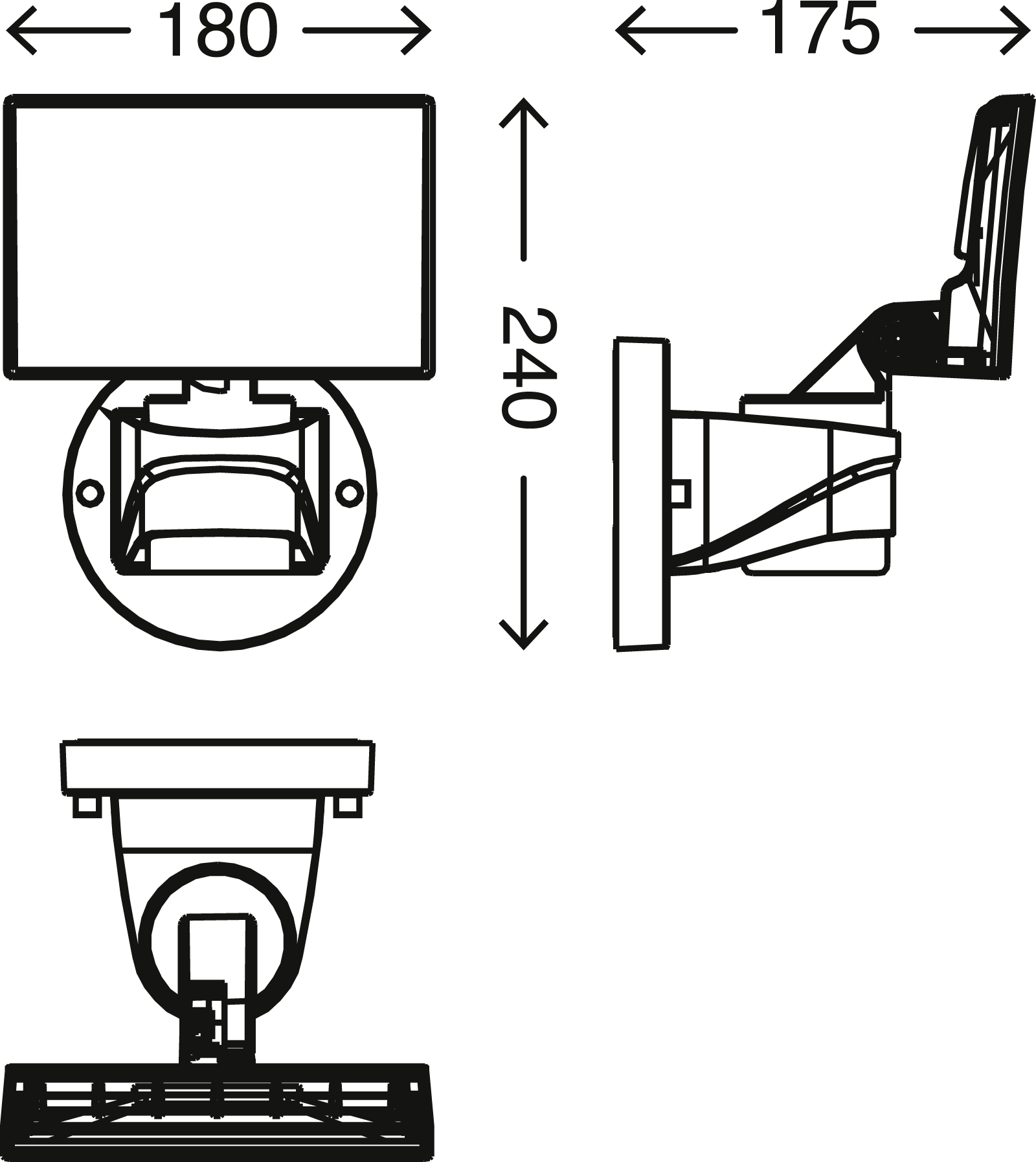 TELEFUNKEN LED Außenstrahler, 24 cm, 16 W, Schwarz