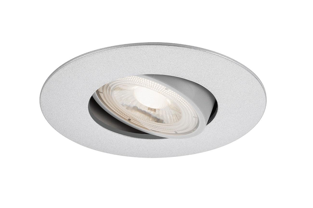 Ultraflache LED Einbauleuchte, Ø 9 cm, 5 W, Chrom-Matt