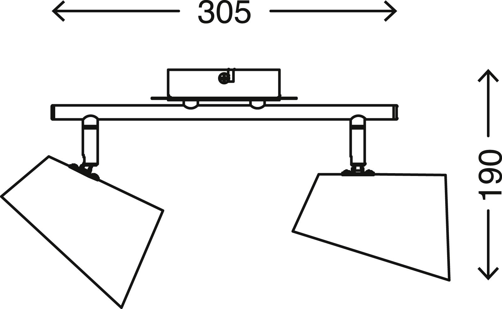 LED Spot Deckenleuchte, 30,5 cm, max. 40 W, Weiss-Schwarz