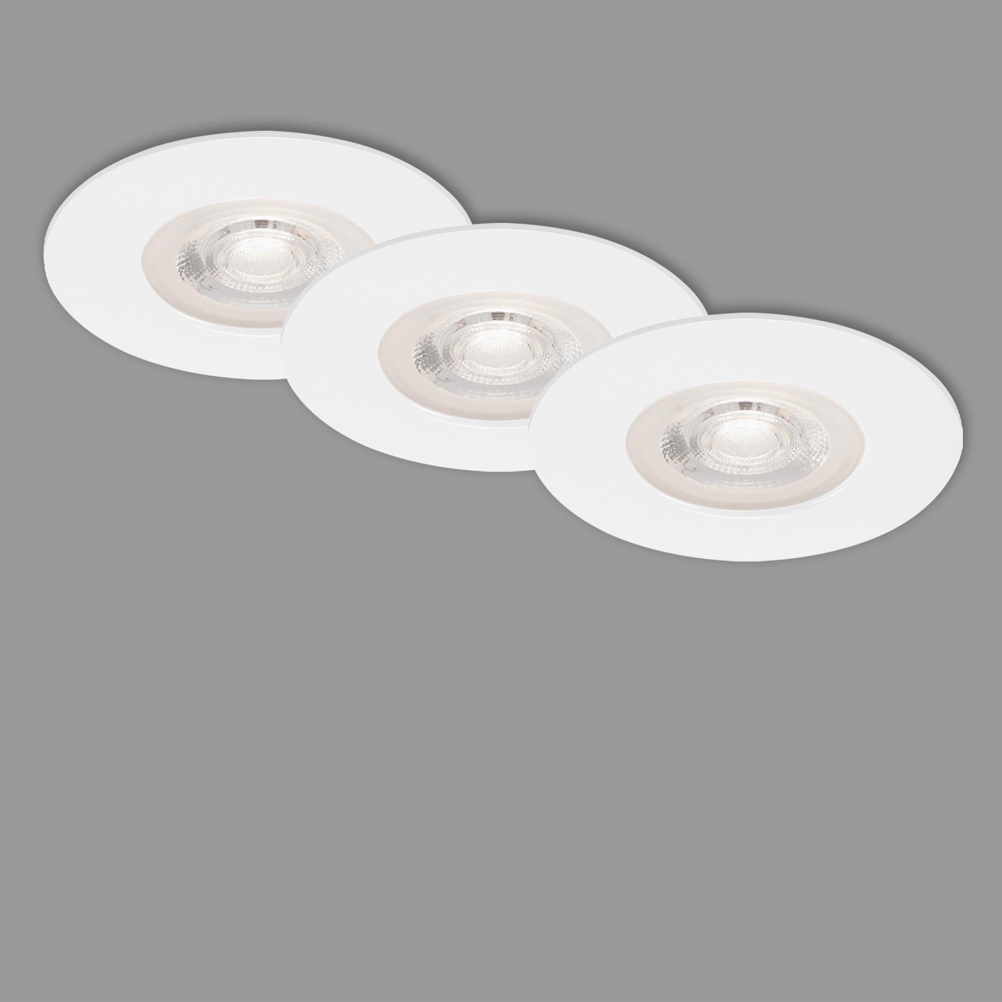 3er Set LED Einbauleuchte, Ø 9 cm, 5 W, Weiss