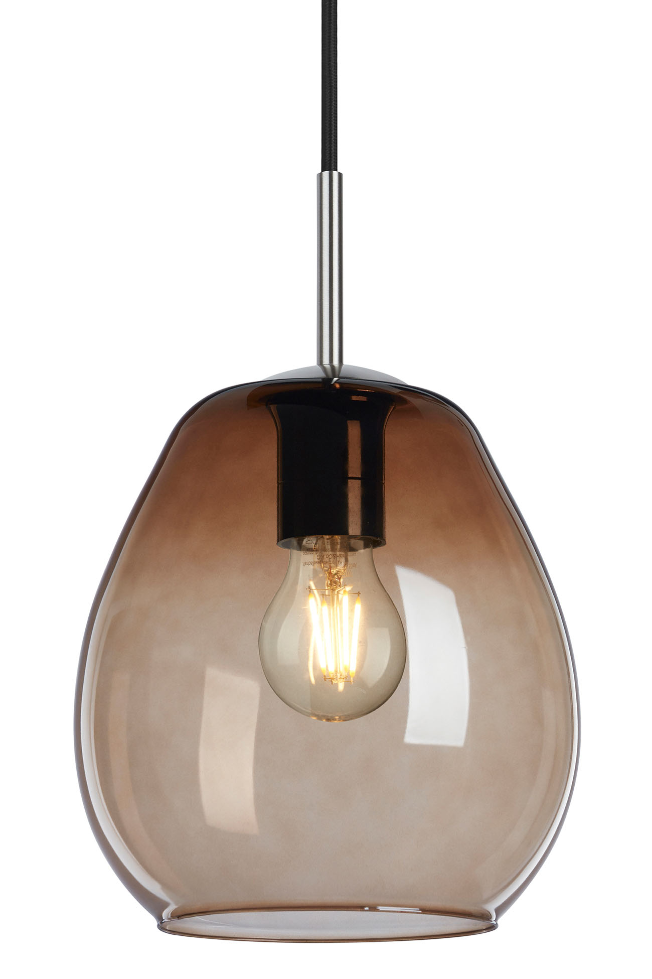 LED Pendelleuchte, Ø 22 cm, max. 40 W, Matt-Nickel-Chocolate