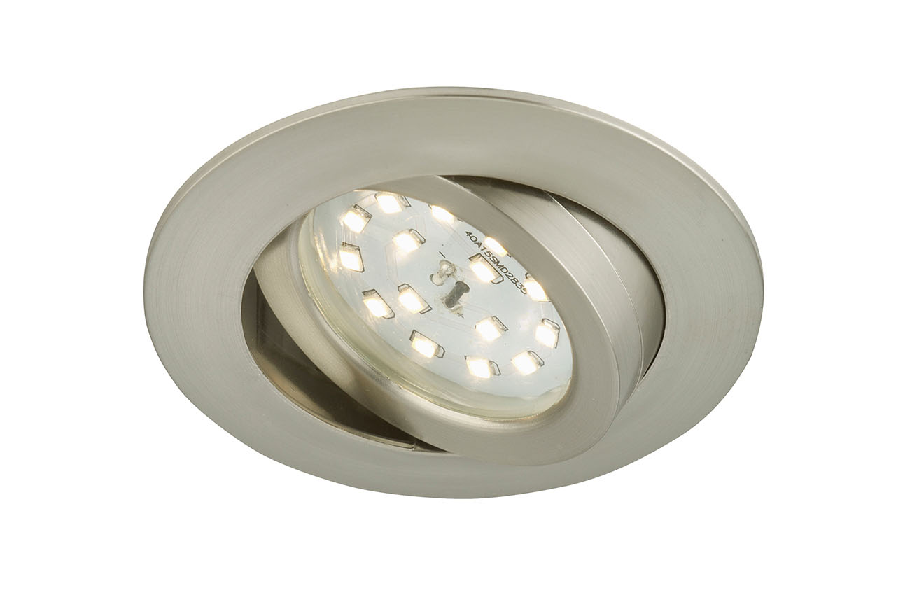 LED Einbauleuchte, Ø 8,2 cm, 6,5 W, Matt-Nickel