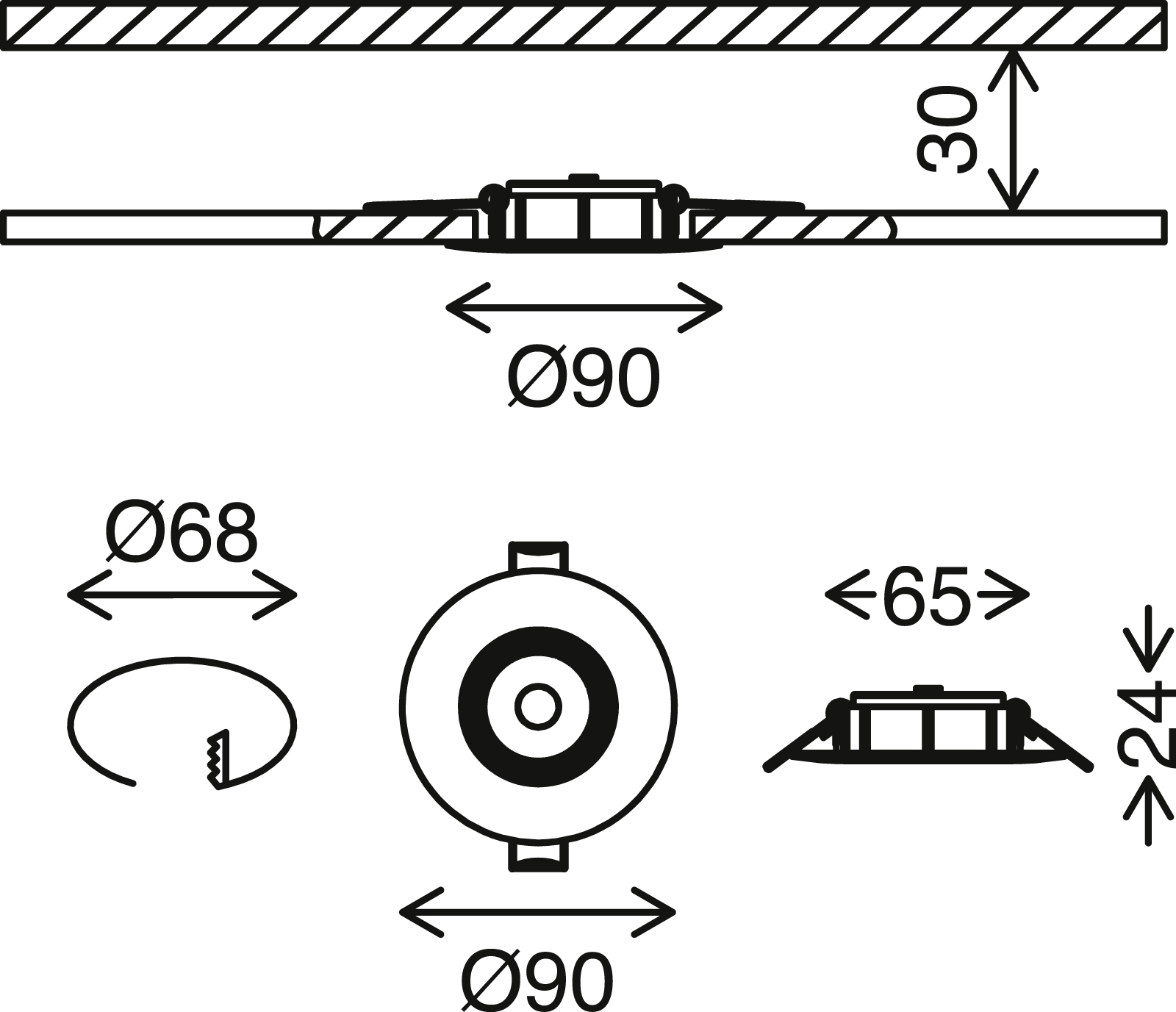 Ultraflache LED Einbauleuchte, Ø 9 cm, 5 W, Weiss