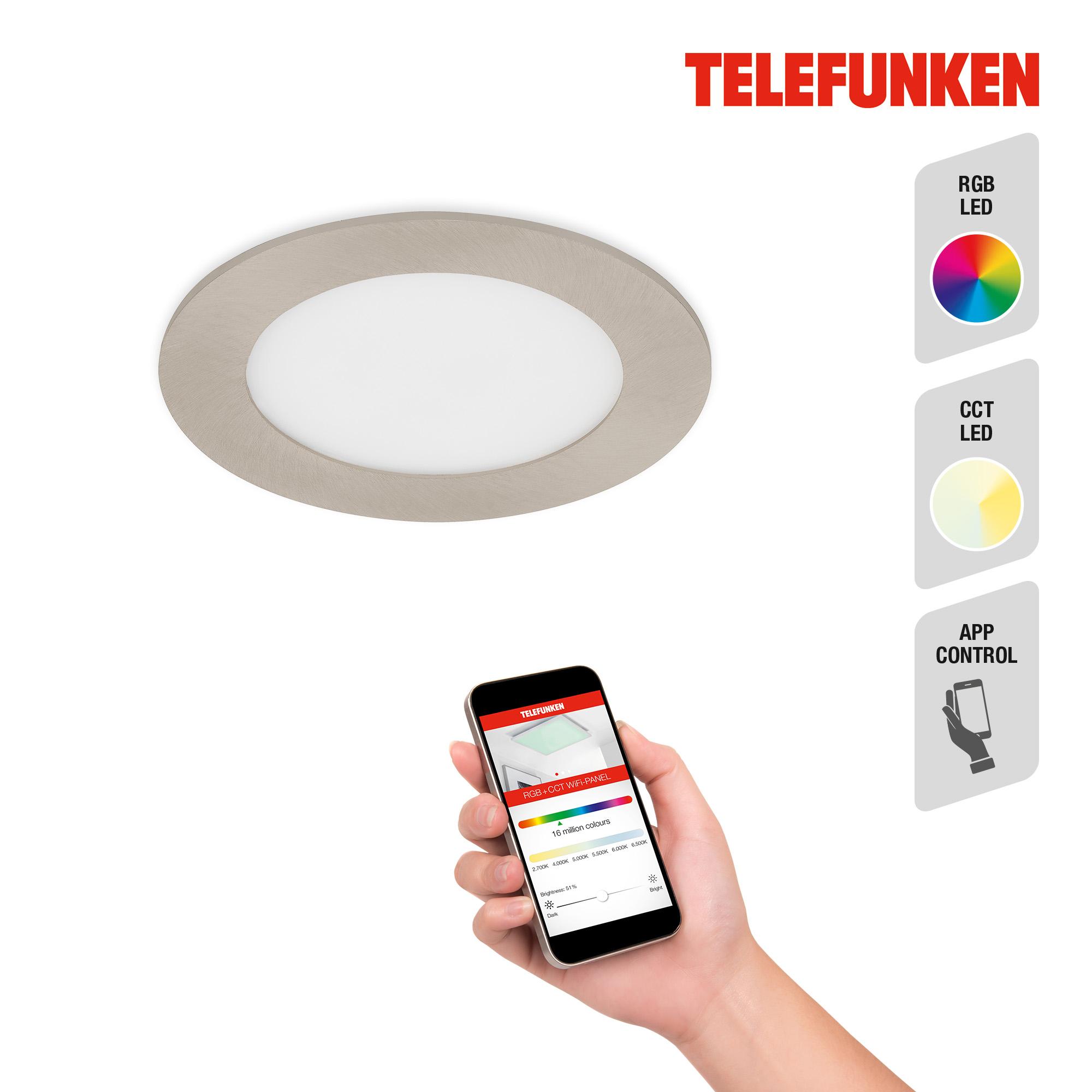 TELEFUNKEN Smart LED Einbauleuchte Matt-Nickel