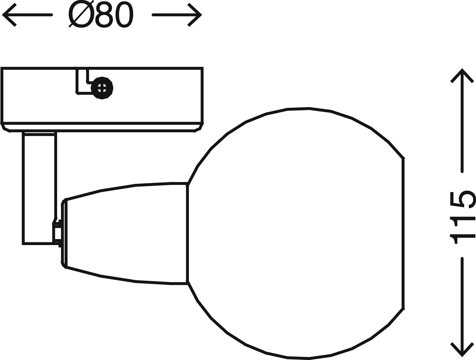 Spot Wandleuchte, Ø 8 cm, max. 5,5 W, Matt-Nickel-Amber