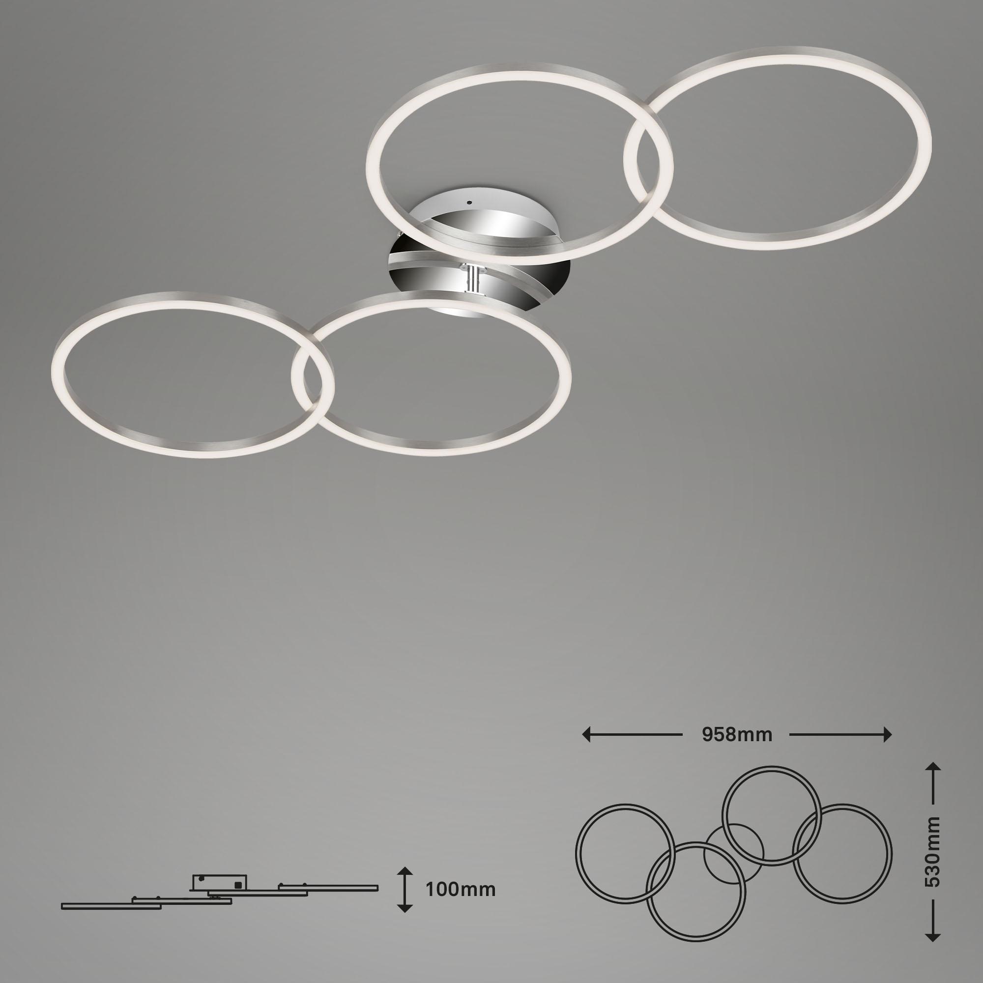 Frame CCT LED Deckenleuchte alufarbig-chrom Maßzeichnung
