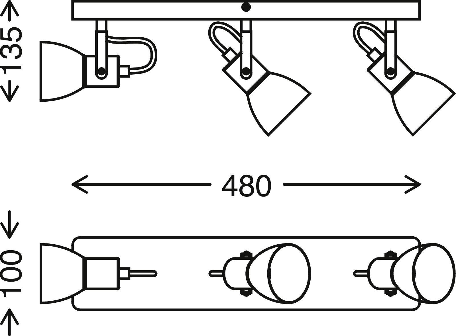 Spot Deckenleuchte, 48 cm, max, 35 W, Schwarz-Holz