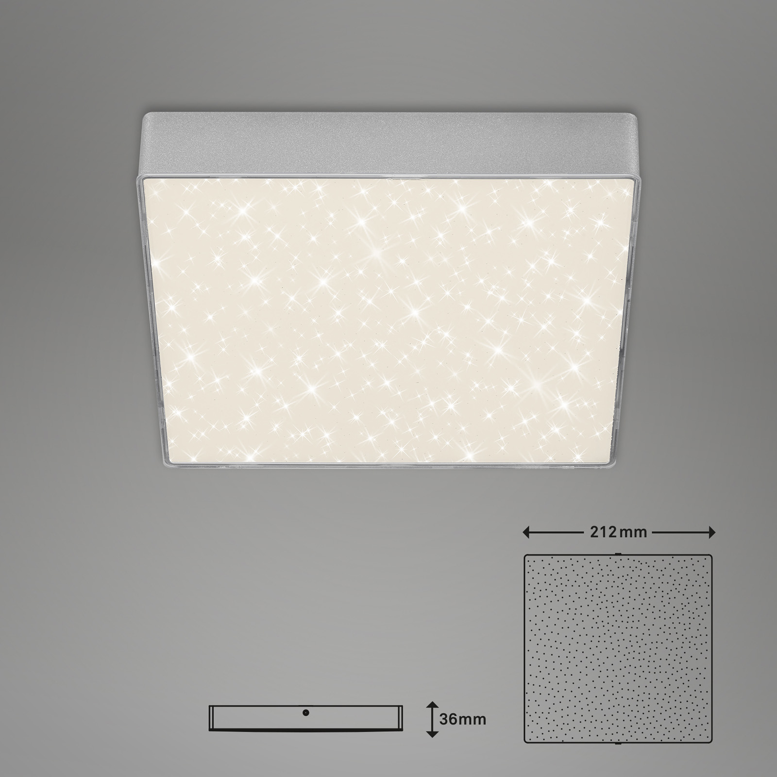 Sternenhimmel LED Deckenleuchte silber Maßzeichnung