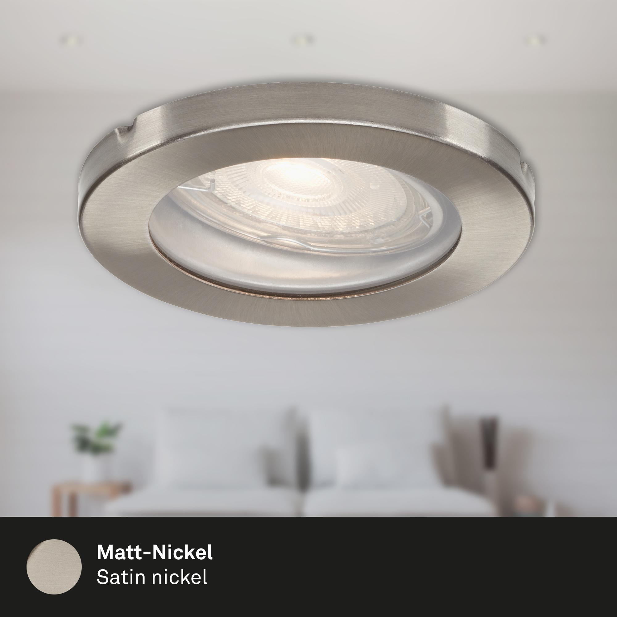 3er Set LED Einbauleuchte, Ø 8,5 cm, 5 W, Matt-Nickel