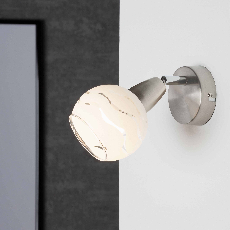 Spot Wand- und Deckenleuchte, Ø 8 cm, max. 40 W, Matt-Nickel-Weiß