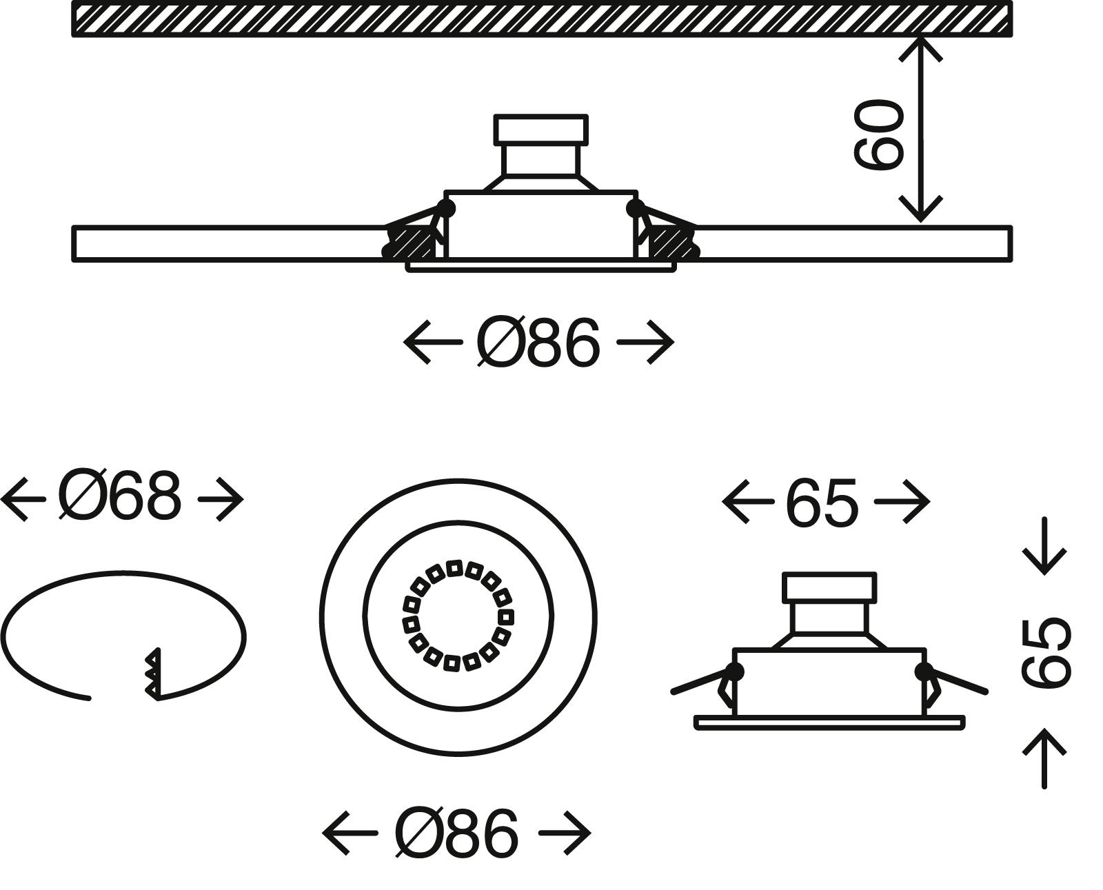3er-Set Spot Einbauleuchte, Ø 8,6 cm, 3 W, Chrom
