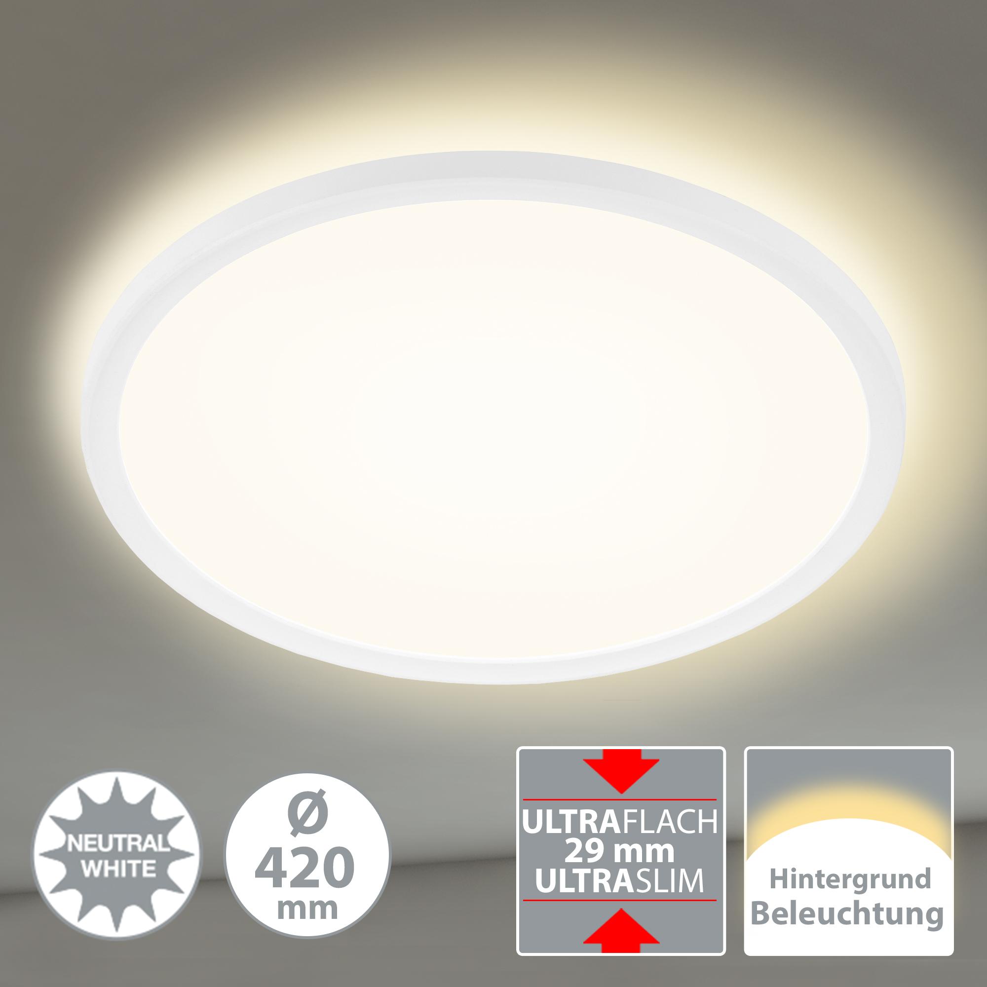 SLIM LED Panel, Ø 42 cm, 3000 LUMEN, 22 WATT, Weiss