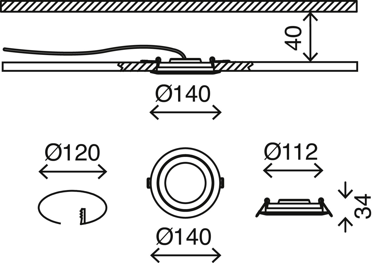 LED Einbauleuchte, Ø 14 cm, 6,4 W, Matt-Nickel