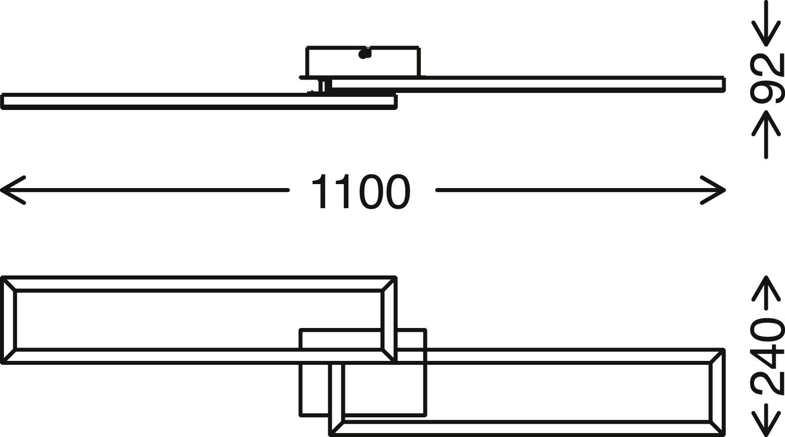 TELEFUNKEN Smart LED Deckenleuchte, 110 cm, 40 W, Chrom-Alu