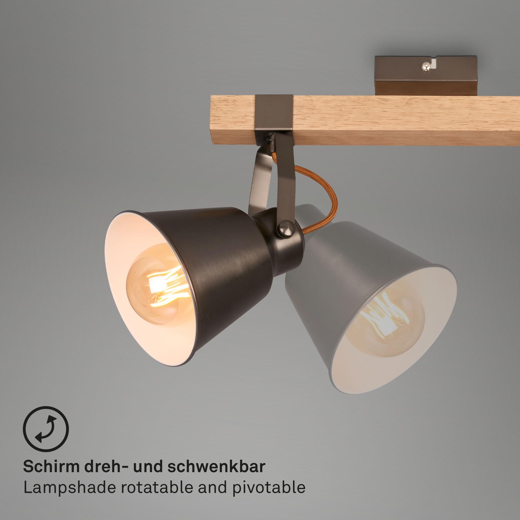 Vintage Spotleuchte 3-flammig Metall-Holz antik-grau dreh- und schwenkbar