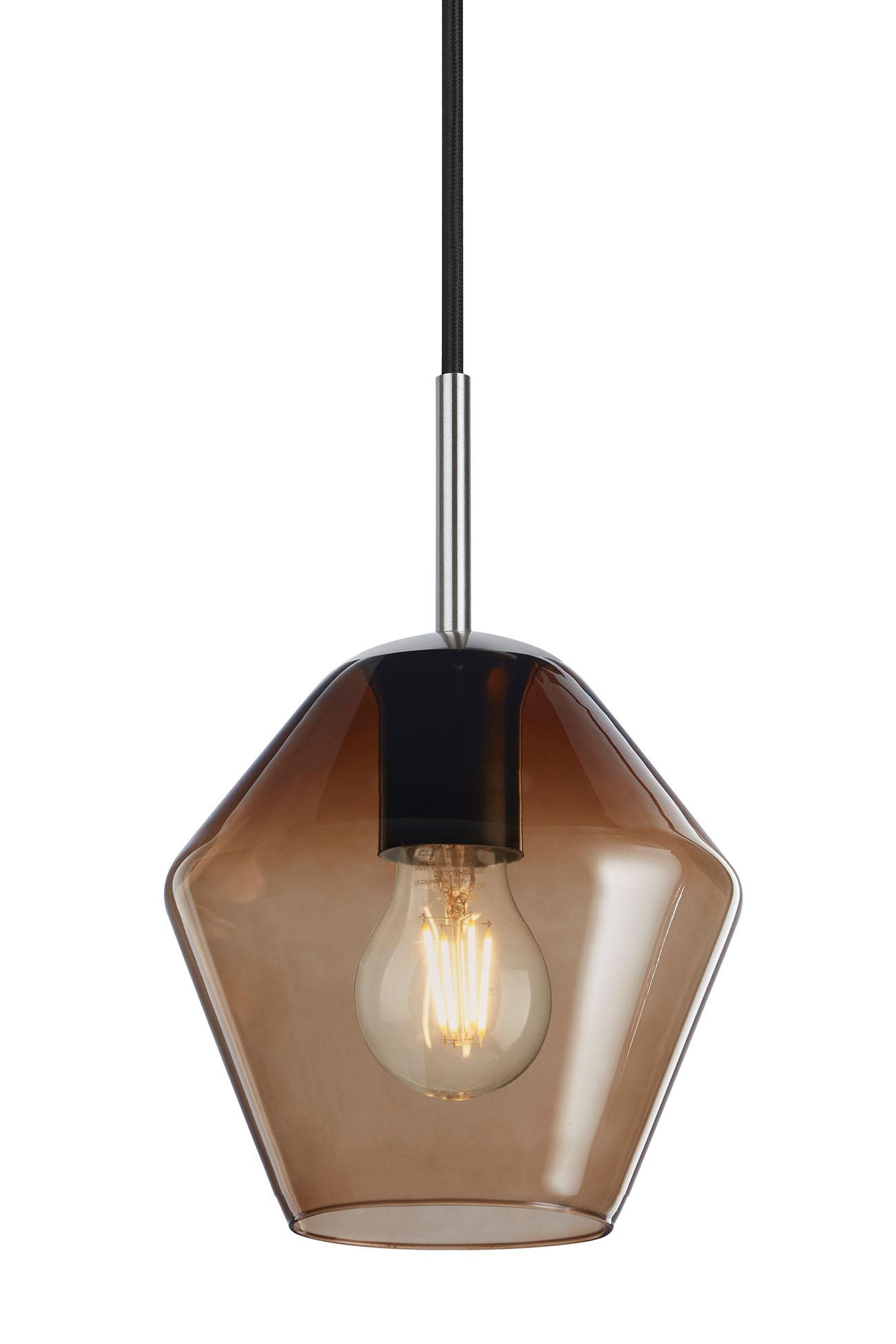 LED Pendelleuchte, Ø 19 cm, max. 40 W, Matt-Nickel-Chocolate