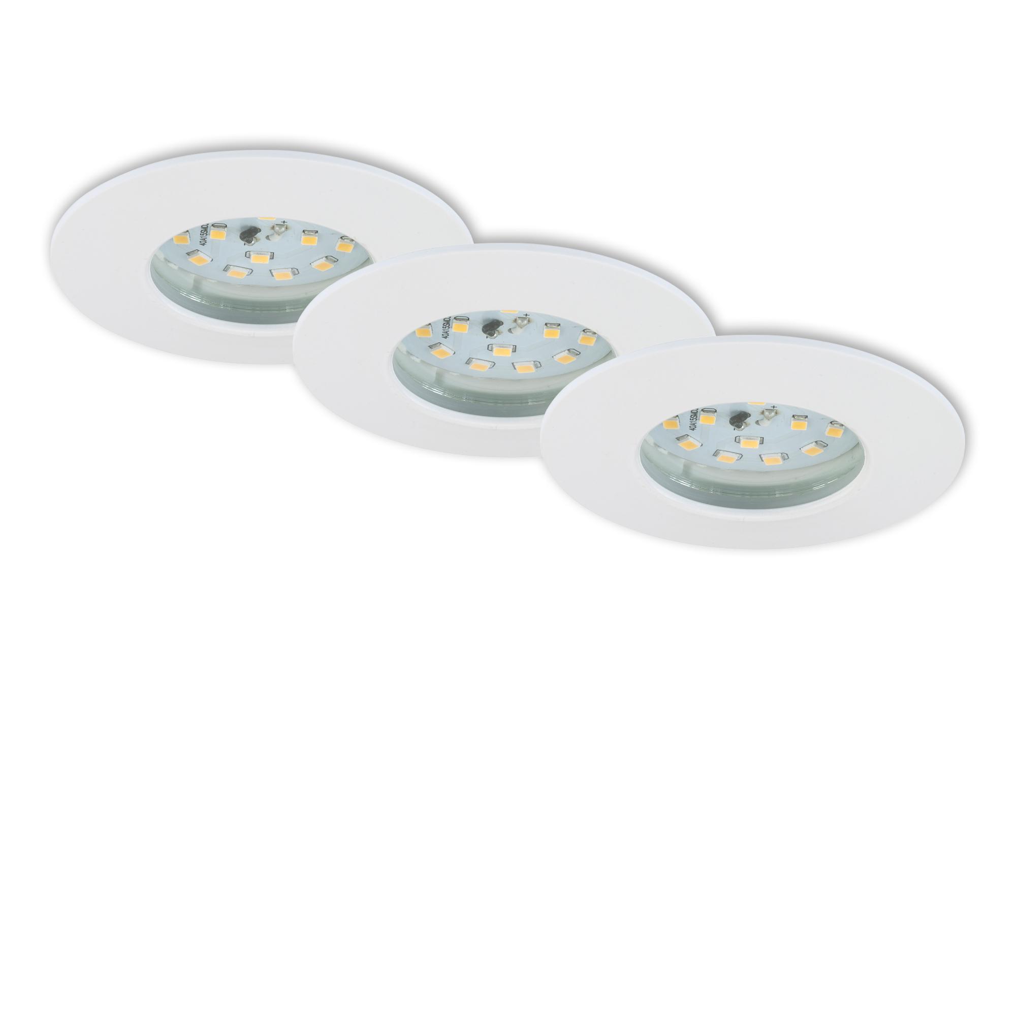 3er Set LED Einbauleuchte, Ø 7,5 cm, 7 W, Weiss