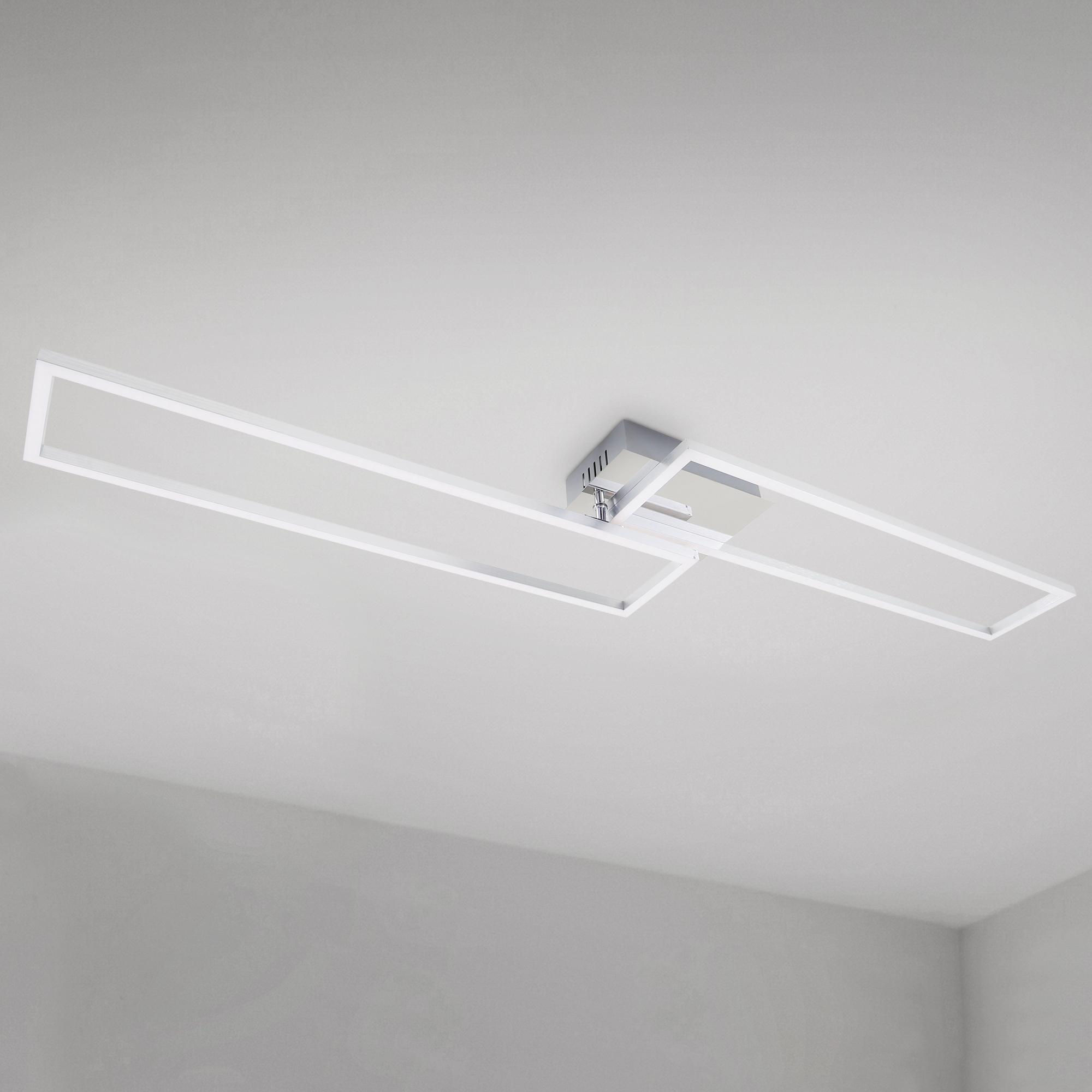 CCT LED Deckenleuchte, 110 cm, 4400 LM, 40 W, Alu-Chrom