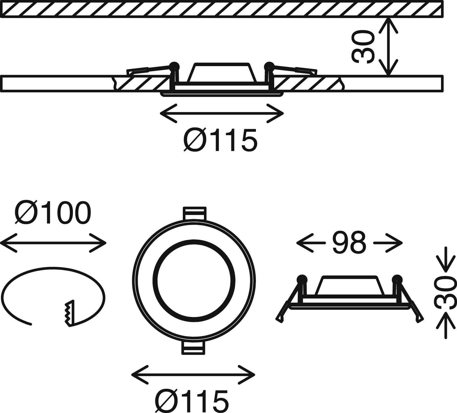 3er Set LED Einbauleuchte, Ø 11,5 cm, 6 W, Chrom-Matt