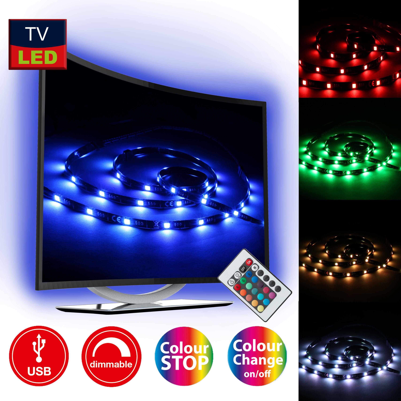 TV-Beleuchtungs Set, 2 Meter, 2,5 W, Schwarz
