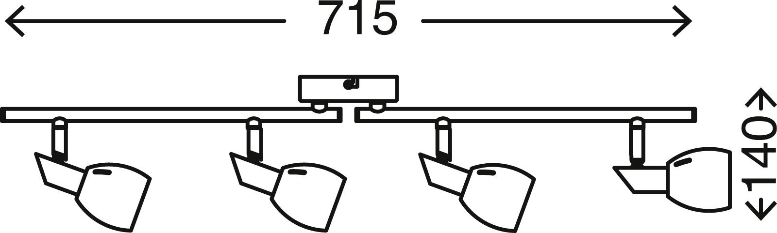 LED Spot Deckenleuchte, 71,5 cm, 20 W, Chrom-Weiß