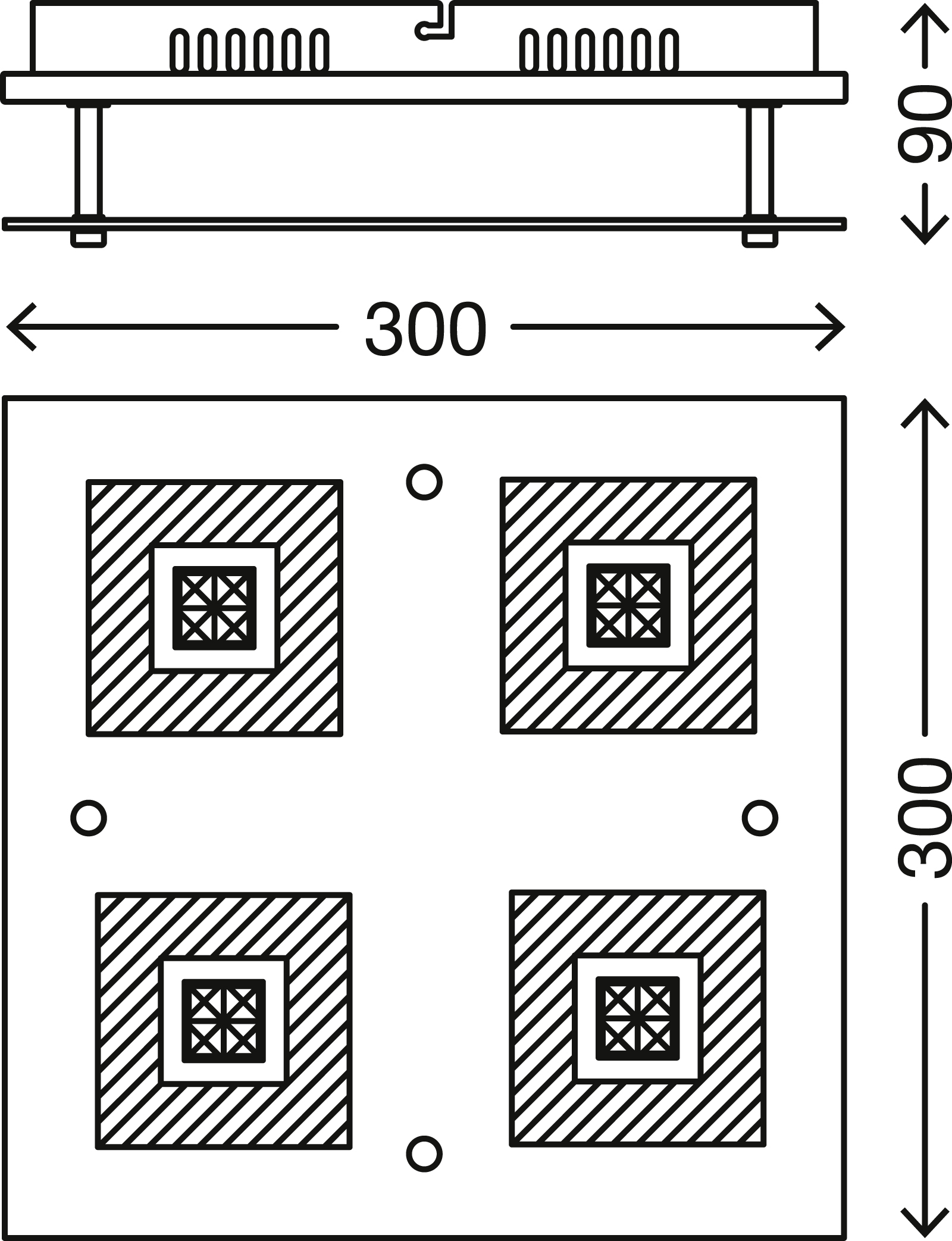 LED Deckenleuchte, 30 cm, 12 W, Chrom