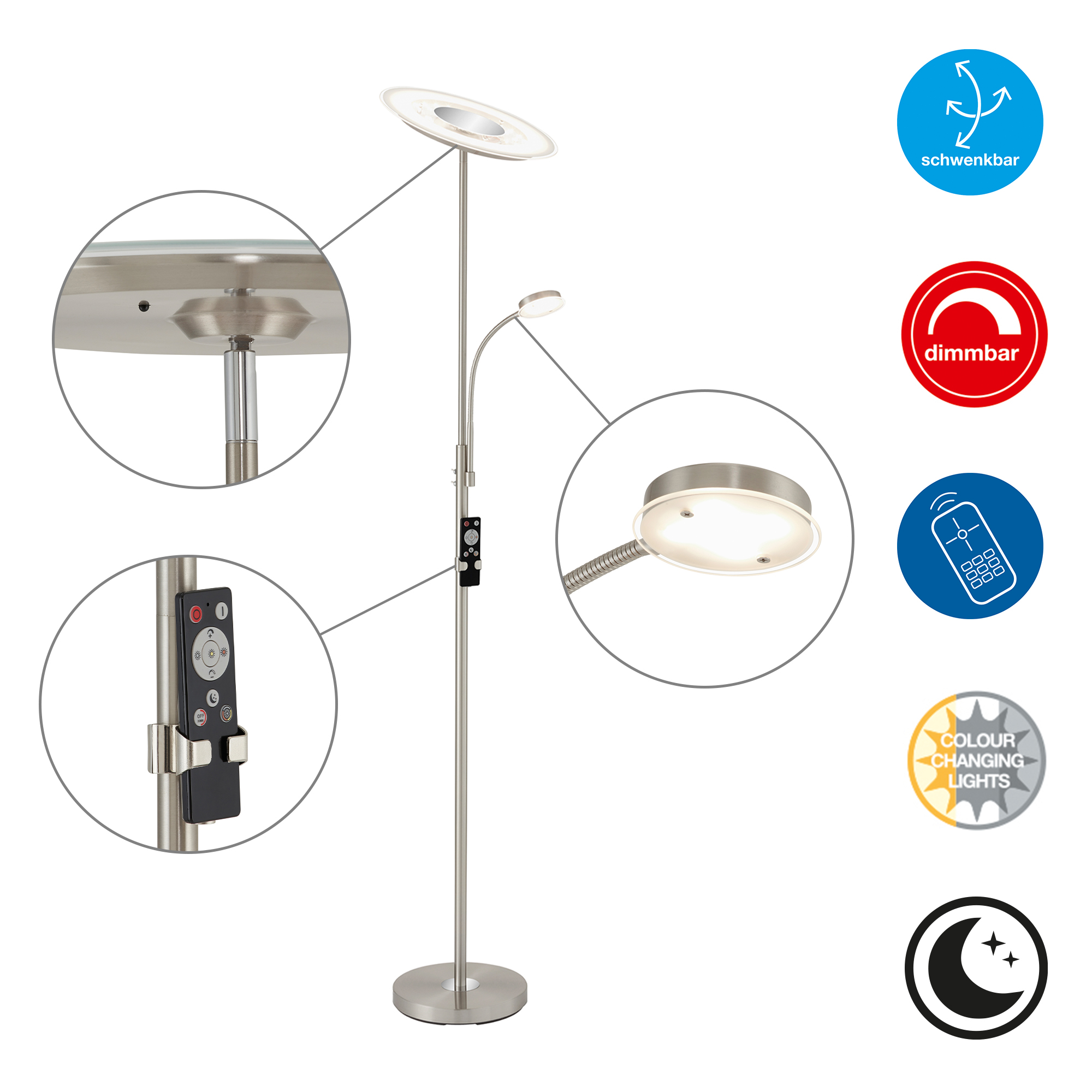 CCT LED Fluter mit Lesearm,180 cm, 36 W, Matt-Nickel