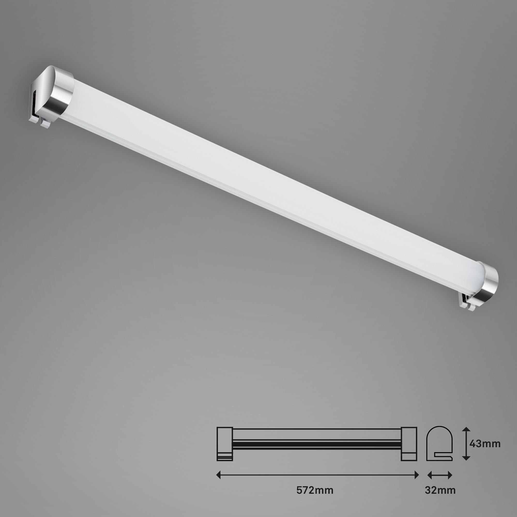 LED Spiegelleuchte, 57,2 cm, 10 W, Chrom
