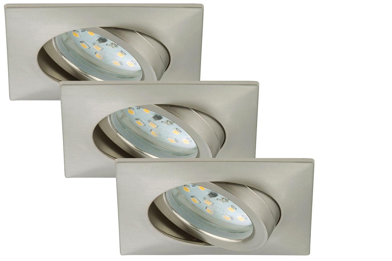 3er Set LED Einbauleuchte, 8,2 cm, 5 W, Matt-Nickel