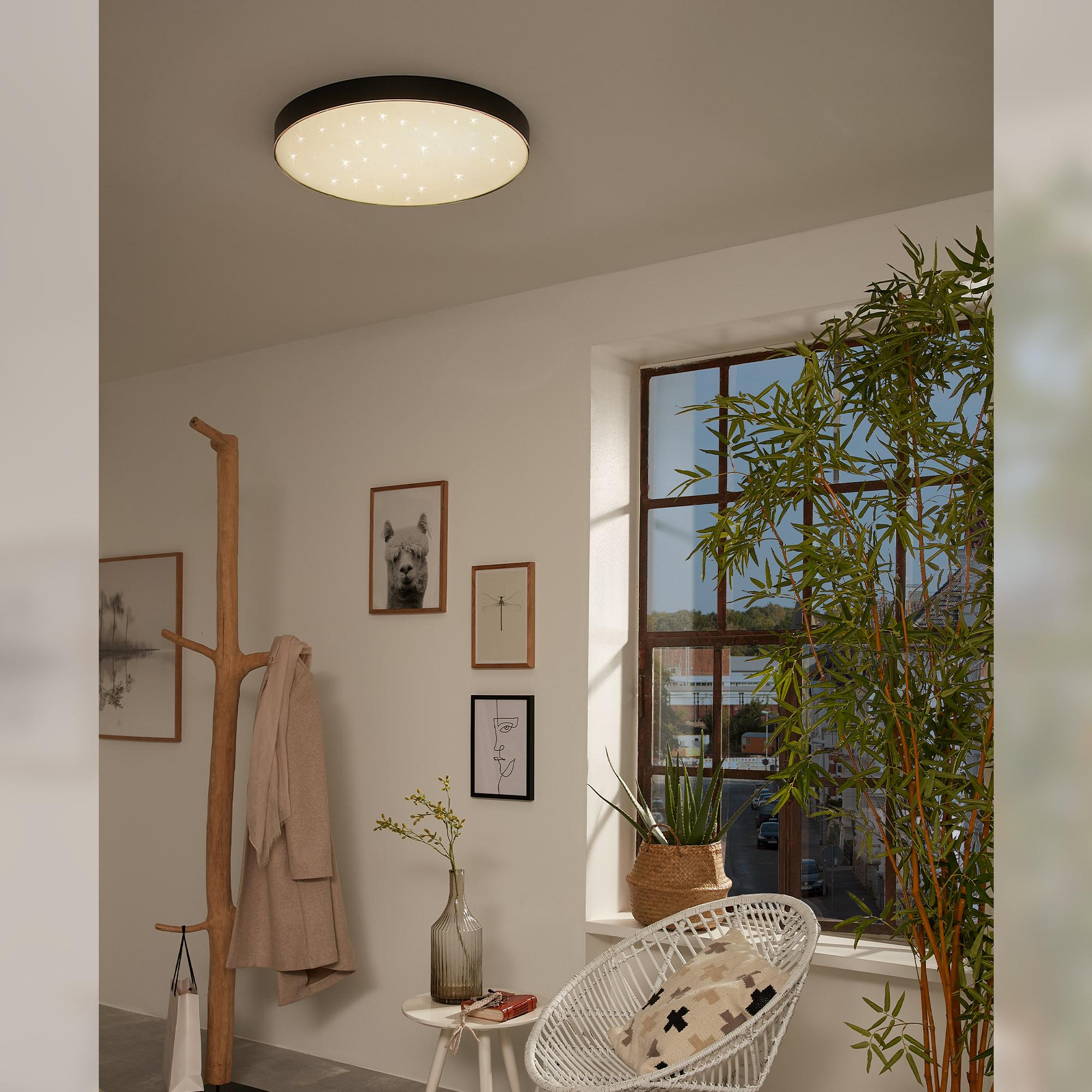 STERNENHIMMEL LED Deckenleuchte, Ø 38,7 cm, 24,5 W, Schwarz