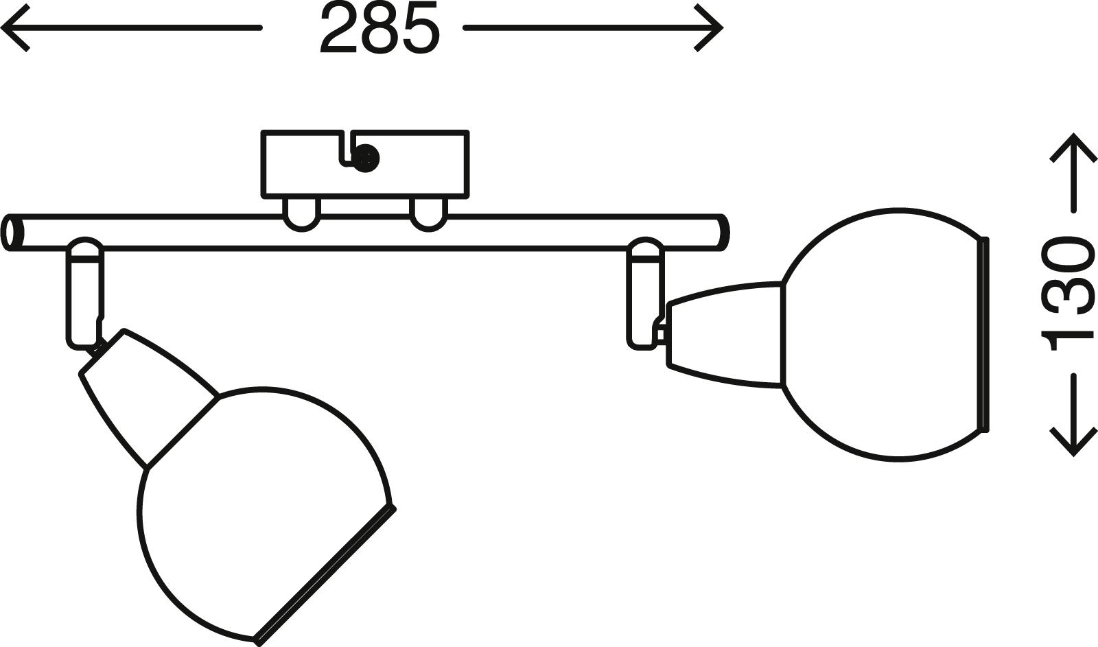Spot Deckenleuchte, 28,5 cm, max. 40 W, Matt-Nickel-Weiss