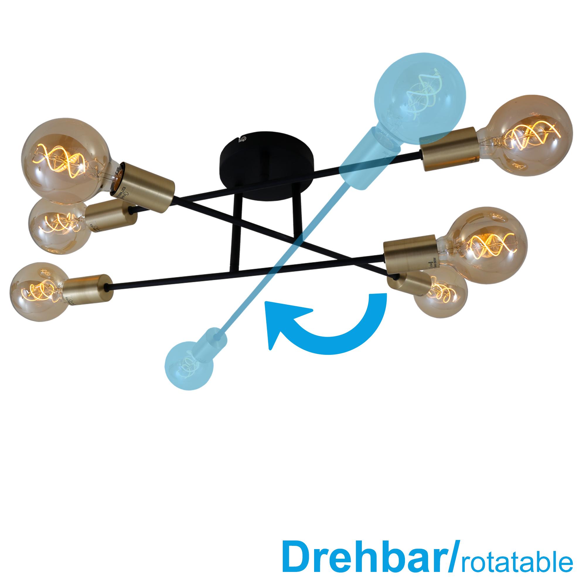 LED Deckenleuchte, Ø 55,5 cm, max. 60 W, Schwarz-Gold