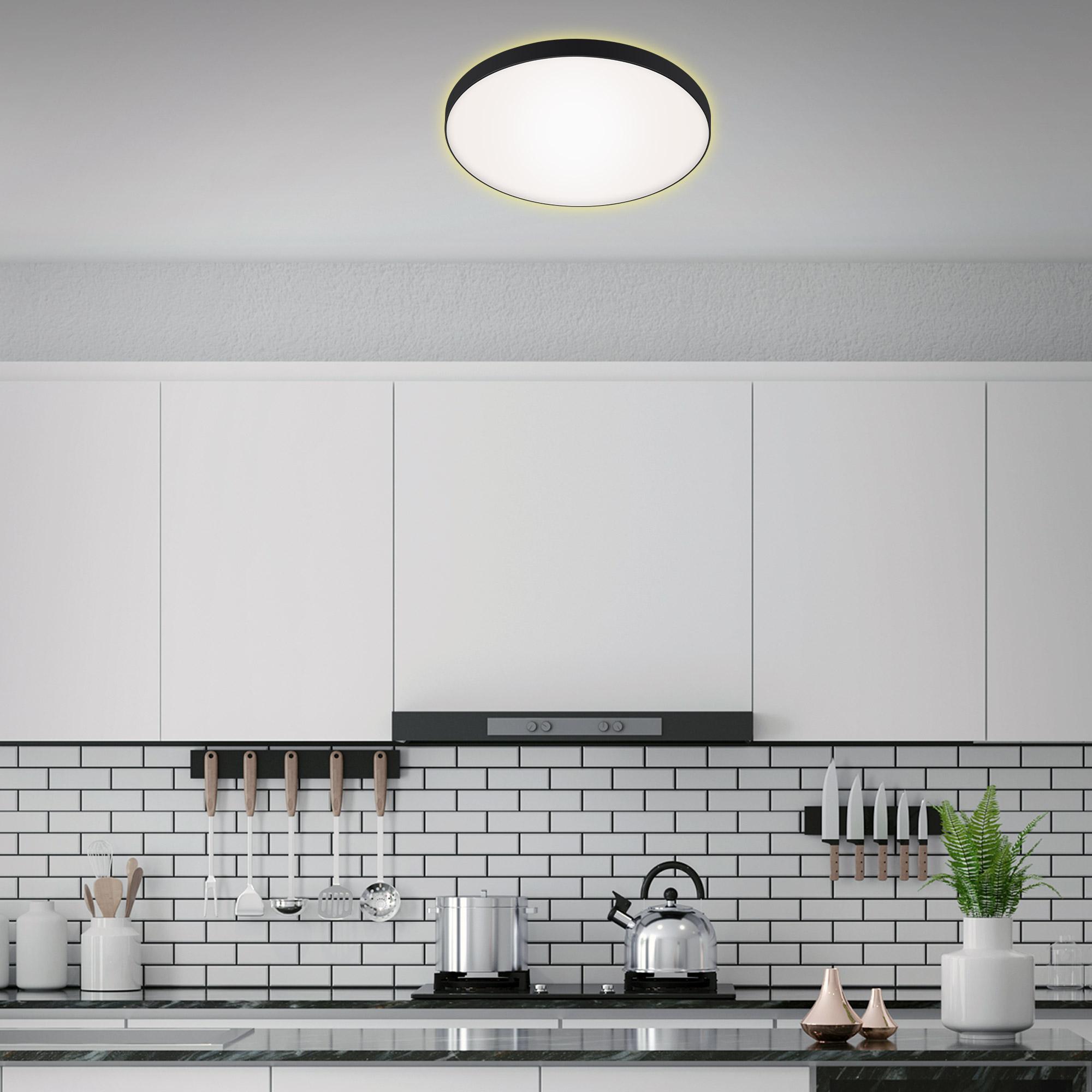 LED Deckenleuchte, Ø 35,5 cm, 18 W, Schwarz-Weiß