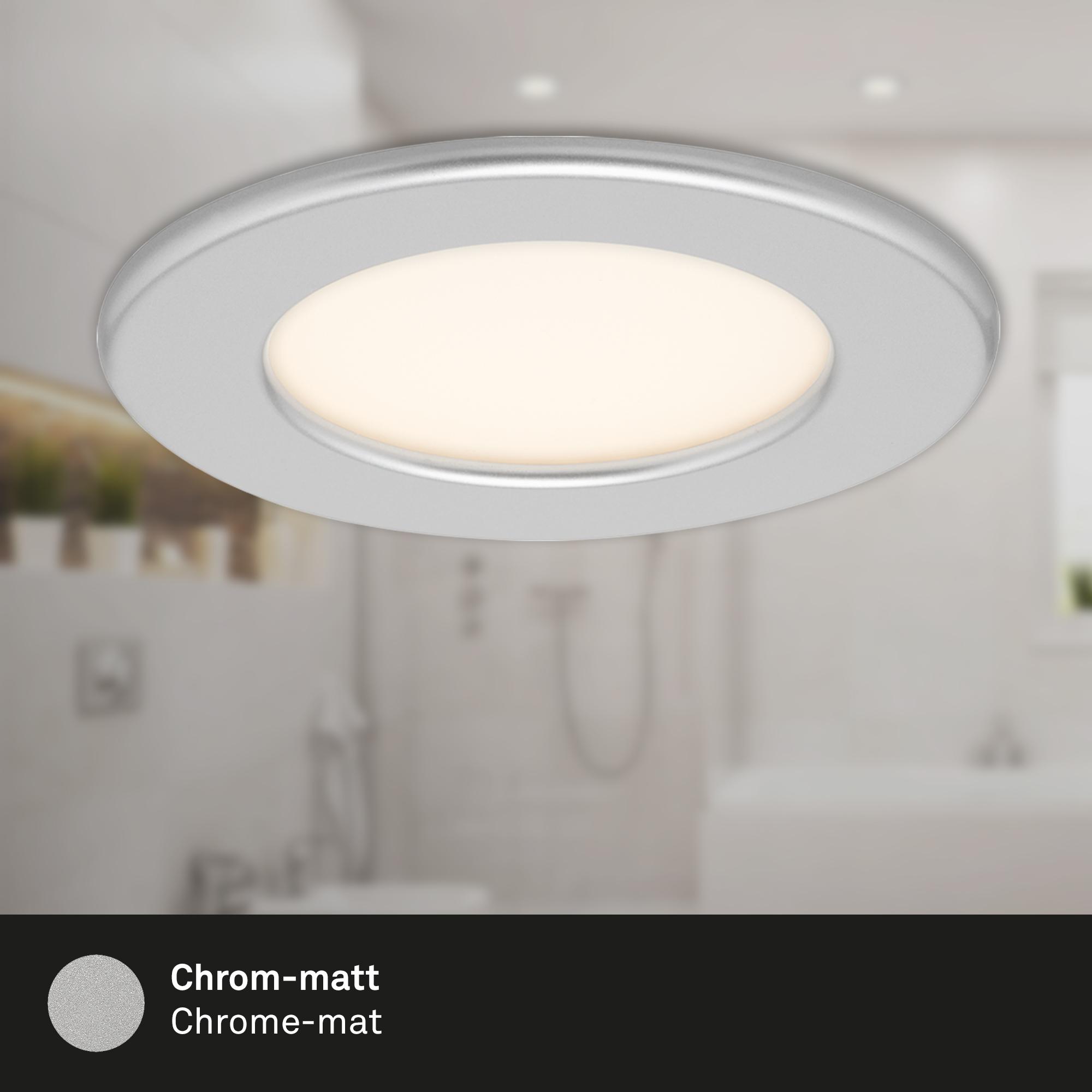 LED Einbauleuchte, Ø 11,5 cm, 6 W, Chrom-Matt