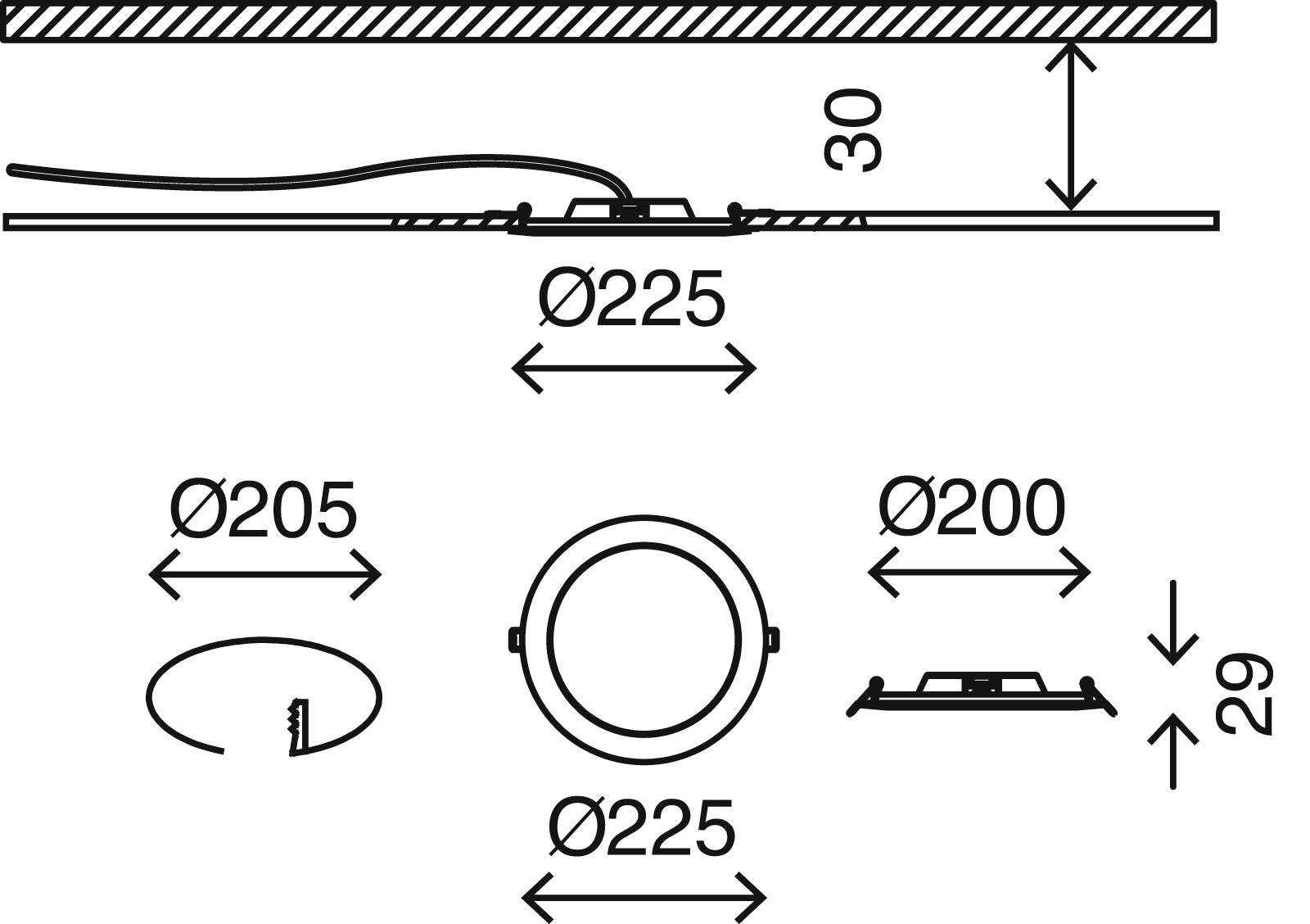 LED Einbaustrahler, Ø 22,5 cm, 18 W, Weiß
