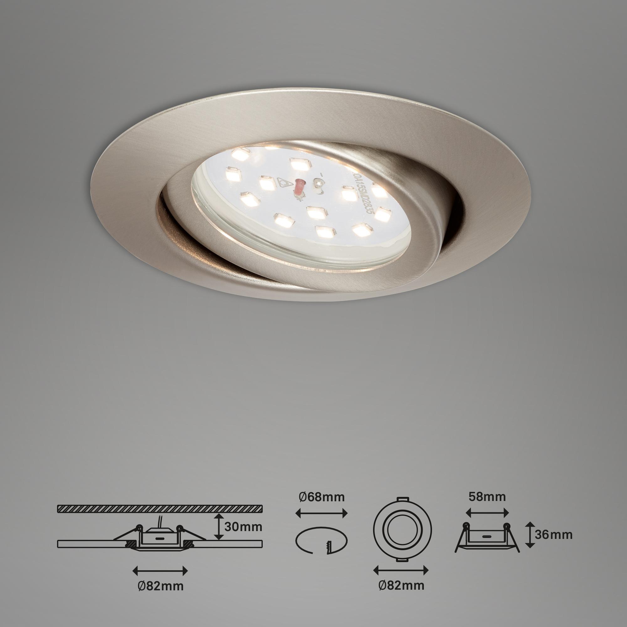 3er Set LED Einbauleuchte, Ø 8,2 cm, 3,5 W, Matt-Nickel