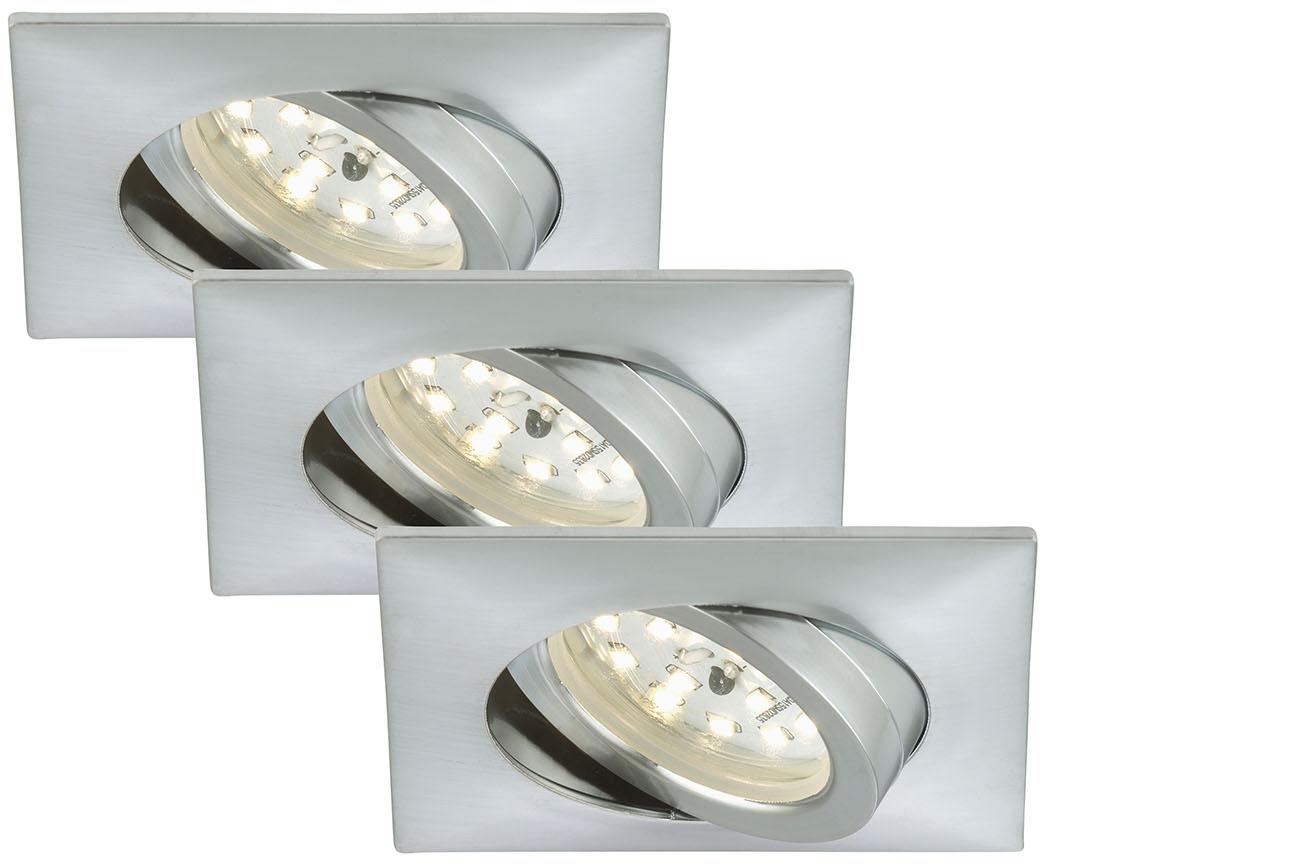 3er Set LED Einbauleuchte, 8,2 cm, 5 W, Alu